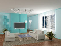Interior of a room of rest. 3D image Royalty Free Stock Photography