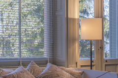 Interior Room Scene with Blinds and Pillows Stock Photo