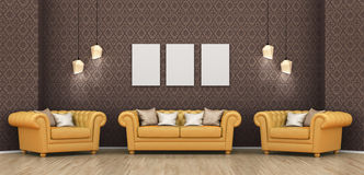 Interior room with a sofa, armchairs. And a blank picture on the wall, wallpaper, lamps. 3d illustration Stock Photo