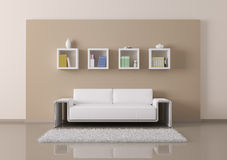 Interior of room with sofa and bookshelves 3d render Royalty Free Stock Image