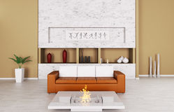 Interior of a room with sofa and fireplace Stock Photos