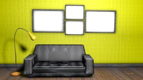 Interior of the room with a sofa and floor lamp. 3D rendering. Interior of the room with a sofa and floor lamp and empty walls. 3D rendering stock illustration
