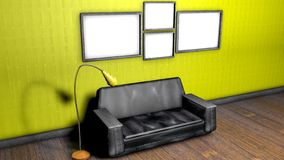 Interior of the room with a sofa and floor lamp. 3D rendering. Interior of the room with a sofa and floor lamp and empty walls. 3D rendering royalty free illustration