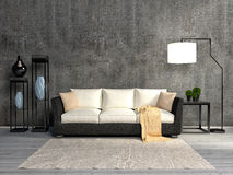 Interior room with sofa and lamp. 3d illustration Royalty Free Stock Images