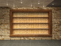 Interior room with  stone wall, Royalty Free Stock Images