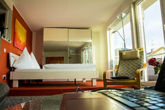 Interior of room-studio in  hotel of small german town. Baden-Baden, Germany Royalty Free Stock Photos