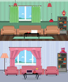 Interior room of teenage boy and girl. Flat design vector illustration of room interior with bed, wardrobe, window and lamp Stock Photos