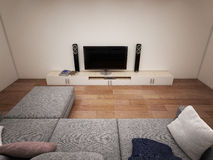 Interior of room with TV and sofa Royalty Free Stock Photography