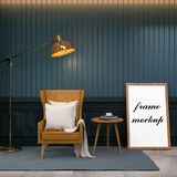 Vintage room,brown leather wing chair with wood table and gold floor lamp ,frame mock up , 3d render Stock Photos