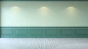 Vintage green room ,Minimalist  interior ,emtry green wall and white wood flooring , 3d render Stock Photography