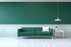 Vintage green room ,Minimalist  interior , green sofa with  table  and lamp on green wall and white wood flooring , 3d render Stock Photos