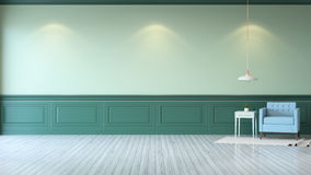 Vintage green room ,Minimalist  interior ,light  blue armchair with green mint table  and white lamp on green wall and white wood. Flooring , 3d render Stock Photos