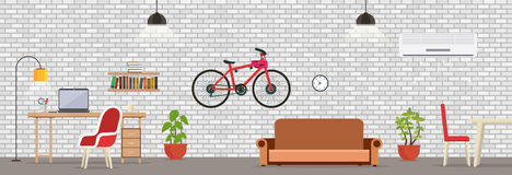 Interior room with white brick wall. Modern room for work royalty free illustration