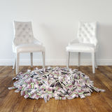 Interior Room With White Leather Chairs And Money On Wooden Floor Royalty Free Stock Photos