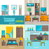 Interior rooms furnishing 4 flat icons. Interior design for bathroom living room and kitchen furniture 4 flat icons composition  abstract isolated vector Royalty Free Stock Photos