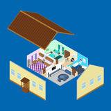 Interior of the rooms inside the house. Vector illustration. The interior of the rooms inside the house. Bathroom, kitchen, living room, bedroom. a desk with a Stock Photos