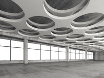 Interior with round holes ceiling pattern, 3d. Empty gray concrete interior background with round holes ceiling pattern, 3d illustration Royalty Free Stock Photo