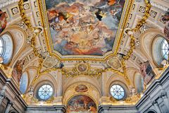 Interior of Royal Palace of Madrid, Spain royalty free stock photography