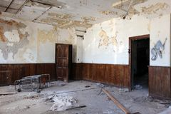 Interior of ruined abandoned building in Detroit stock photo