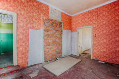 Interior of a ruined house Stock Photography