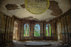 Interior of ruined round hall of an abandoned mansion Earl Voeikov Royalty Free Stock Images