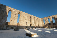 Interior of ruined St. Brigitta convent Royalty Free Stock Images