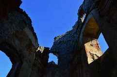 Interior of ruins of St. Ignatius church on castle Gymes, Slovakia Royalty Free Stock Photography