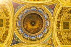 Interior ruso del templo de la catedral de la ortodoxia foto de archivo libre de regalías