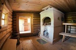 Interior of the Russian bath Stock Photo