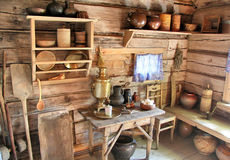Interior of russian izba royalty free stock photography