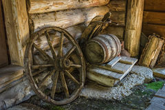 Interior of   Russian log hut with elements of the old way of li Stock Images