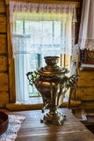 Interior of   Russian log hut with elements of the old way of li Stock Image