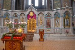 Interior of russian orthodox cathedral. Interior of aged traditional russian orthodox cathedral Stock Images
