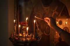 The interior of the Russian Orthodox Church. royalty free stock photography