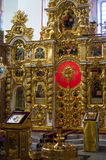 Interior of a Russian Orthodox Church in the Kaluga region. Royalty Free Stock Photo