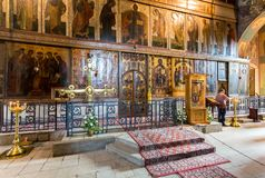 Interior of the Russian orthodox St. Sophia Cathedral in Veliky Royalty Free Stock Image