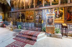 Interior of the Russian orthodox St. Sophia Cathedral in Veliky Royalty Free Stock Photo