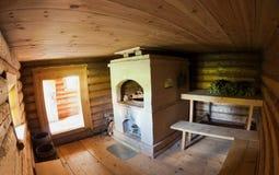 Interior of the Russian wooden bath Stock Photos