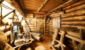 Interior of russian wooden sauna Royalty Free Stock Photos
