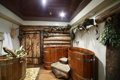 Interior of russian wooden sauna Royalty Free Stock Images