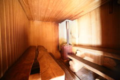 Interior of russian wooden sauna Royalty Free Stock Image