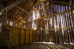 Interior of a Rustic Old Barn Stock Images