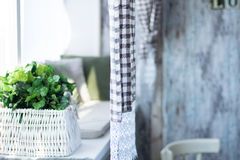 Interior rustic rooms with curtains and flowers on the windowsil Stock Photos