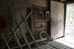 Interior of rustic wooden barn. Royalty Free Stock Images