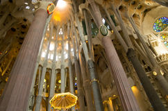 Interior of Sagrada Familia Stock Photography