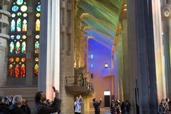 Interior of Sagrada Familia in Barcelona Stock Image
