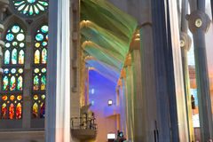 Interior of Sagrada Familia in Barcelona Royalty Free Stock Images