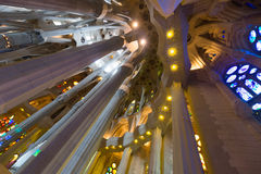 Interior of Sagrada Familia in Barcelona Royalty Free Stock Photo