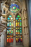 Interior of Sagrada Familia in Barcelona, Spain. BARCELONA, SPAIN - MAY 02: Colorful mosaic window inside the Sagrada Familia, a cathedral and world heritage Royalty Free Stock Images