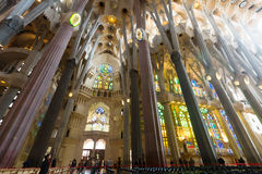 Interior of Sagrada Familia Stock Image